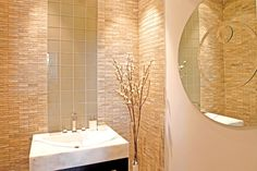 Powder room with textured tiles (Manny Pacquiao's Los Angeles Home)