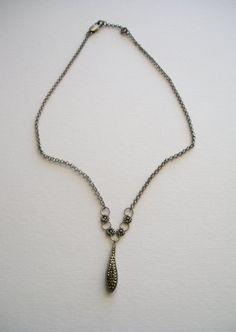 Vintage Marcasite Tear Drop Pendant Necklace by luxcharm on Etsy, $28.00