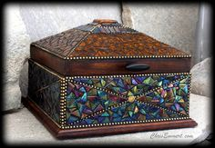 """Treasure Box  Iridescent glass tile, amber stained glass, thumb tacks, ball chain and fused glass focal.  8 x 8 x 8"""""""