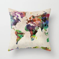 World Map Urban Watercolor Throw Pillow- so colorful!!
