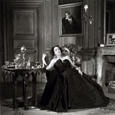 Marie Laure, la Vicomtesse de Noailles, 1949, photographed by Willy Maywald wearing a dress by Jacques Fath
