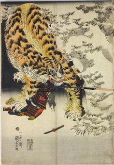 Sheet from a colour woodblock print triptych, entitled Watōnai toragari no zu… Japanese Art Prints, Japanese Tattoo Art, Japanese Painting, Japanese Tiger, Tokyo Museum, Traditional Japanese Art, Tibetan Art, Tiger Art, Samurai Art