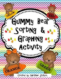 This is a Gummy Bear sorting and graphing activity. The set comes with a gummy bear sorting mat. Have your students sort their gummy bears by color. Students will graph the number of gummy bears they have. Then your students will use the graph to answer Math Classroom, Kindergarten Math, Fun Math, Preschool Activities, Classroom Ideas, Maths, Graphing Activities, Numeracy, Teddy Bear Day