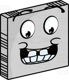 Giddy Smiley Face Emoticon With Big Block Teeth, Large Grin and Raised Eyebrows On Grey Square Metal Plate Tilted Right #animated #computer #delighted #eager #ecstatic #emotion #excited #expression #eyebrows #eyes #face #feeling #icon #laughing #mood #mouth #PDF #smiley #teeth #thrilled #vectorgraphics #vectors #vectortoons #vectortoons.com