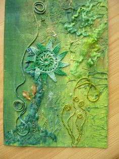 Painted Pelmet vilene, embroidered