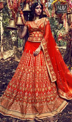 Stunning Orange Color Silk Designer A Line Lehenga Choli Everyone will admire you when you wear this clad to elegant affairs. Be the sunshine of anyone's eyes dressed in such a gorgeous orange color silk and net a line lehenga choli. The stunning resham, patch border, embroidered and zari work a substantial feature of this attire.