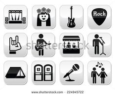 Music festival, live concert vector buttons set by RedKoala #toitoi #tent #gig #hippie #rocknroll #guitar