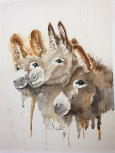 """""""Our favorite local artist, Kay Lodahl, is a talented artist in lots of mediums and has donated her work to raise funds for our donkey rescue many times over the years. Kay just donated 4 professionally made prints of 'Three Buddies' to us to sell. They are absolutely gorgeous reproductions printed on watercolor paper. Actual size 8 x 10 with extra on each side for framing. Each print is $45 including shipping. """" Courtesy: Lavender Dreams Farm & Donkey Rescue, Spokane, Washington (USA)."""