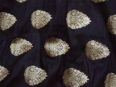 Indian Fabric Black Banarasi Brocade fabric, Silk Brocade Fabric sold by the yard, Bridal Wedding Dress Fabric, Banarasi Fabric Blended