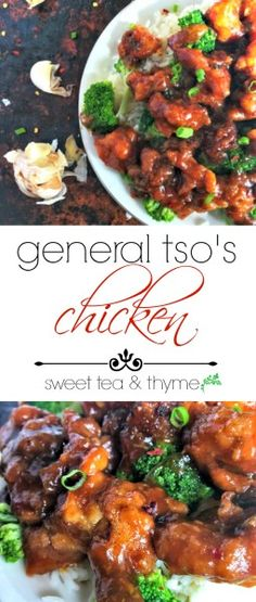 General Tso Chicken is easy and delicious with an incredibly flavorful sauce glazed over crispy chicken thighs. Throw out the takeout menu, you won't need it for dinner tonight! www.sweetteaandthyme.com