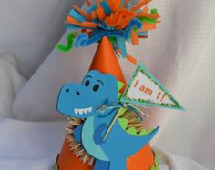 Lil' T-Rex Dinosaur Birthday Party Hat by SandysSpecialtyShop