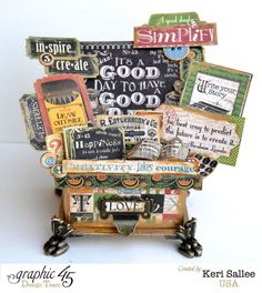 Stunning Typography Idea Box by Keri Sallee using our ATC Book Box, Metal Claw Feet, and Label Holder #graphic45