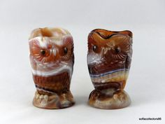 Imperial 335 Caramel Slag Owl Cream and Sugar Set - Vintage 1970s Imperial Glass…