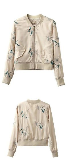 $68 - Embroidered Foral Bomber Jacket is Now Available at Pasaboho *this fashion Jacket exhibits unique embroidered floral patterns.