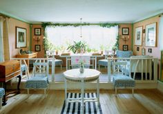 Carl and Karin Larsson's homespun Swedish living room.  When we were there, potted red geraniums lined the windowsill.