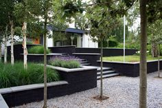 modern garden with tight lines and height differences Landscape Walls, Landscape Lighting, Landscape Architecture, Backyard Patio, Backyard Landscaping, Sloped Garden, Most Beautiful Gardens, Backyard Makeover, Gardens