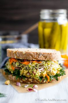 Ten minutes to a tangy Smashed Chickpea Salad Sandwich with dill and spicy mustard - a delicious sandwich or salad for a week-day lunch, weekend picnic or potluck! vegan + gluten free