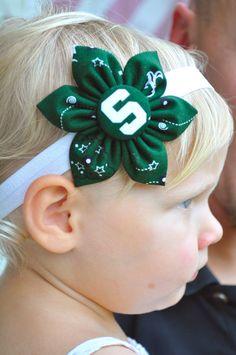 Michigan State University fabric flower headband for Baby