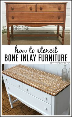 Get the high end look and stencil bone inlay furniture - for thousands less than buying the real thing! Step by step DIY tutorial by Girl in the Garage. makeover diy How to Stencil Bone Inlay Furniture - Girl in the Garage® Cheap Furniture Makeover, Diy Furniture Renovation, Diy Furniture Decor, Diy Furniture Projects, Repurposed Furniture, Garage Furniture, Refurbished Furniture, Furniture Design, Diy Furniture Repurpose