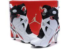 110.99-Cheap Nike Jordan 8 High Heels For Women White Black Red-Nike High Heels Jordan 8