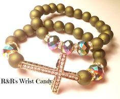 Olive Green Cross Bracelet Set by RandRsWristCandy on Etsy, $9.00