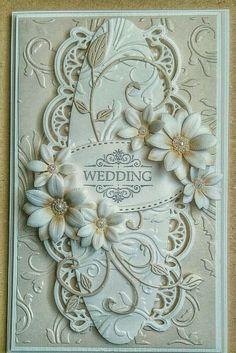 Wedding card using Sue Wilson die and Sara Davis floral dies Wedding Day Cards, Wedding Shower Cards, Wedding Cards Handmade, Wedding Anniversary Cards, Handmade Birthday Cards, Sympathy Cards, Greeting Cards, 123 Cards, Spellbinders Cards
