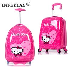 HOT luggage child rolling suitcase hello kitty cartoon 16/18 inch students Travel trolley case children Boarding box //Price: $153.30 & FREE Shipping //     #hashtag1