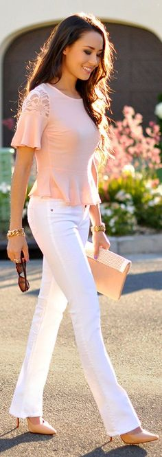 Summer Fashion 2014. Blush open back top, fantastic white straight-leg denim and nude Louboutins. ::M::