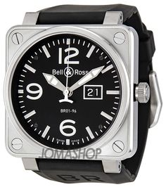c066eabb53a Bell and Ross Grande Date Black Dial Black Rubber Men s Watch BR0196-BL-ST