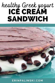 A healthy ice cream sandwich?  That's right!  This greek yogurt ice cream sandwich is made with protein-packed yogurt sandwiched in between a high fiber, chocolate covered flatbread.  It's one of my favorite healthy dessert recipes and tastes amazing.
