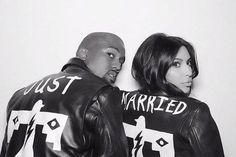 """Ever since Kanye West and Kim Kardashian West stepped out in their matching """"just married"""" leather jackets at their Florence wedding reception, the internet has been buzzing with """"just married"""" swag for newlywed couples. Use these details to announce to the world that you are both in total wedded bliss!"""