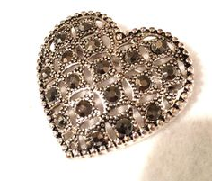 Vintage Heart and Gray Rhinestone Brooch 2 by KMSCollectibles