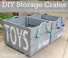My Love 2 Create DIY toy storage crates using reclaimed wood and handles made from dog toys.