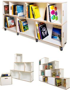 Individual Brick Boxes can be reversed so as to display books or other items on one side or the other, correspondingly adding white space to the composition of the other.