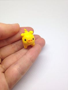 Polymer Clay Miniature Yellow Pig, Cute Little Fimo Figurines Kawaii Style Animal