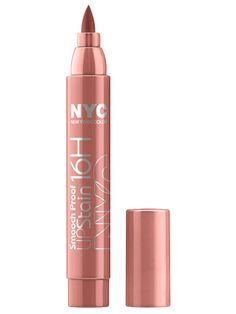 NYC Smooch Proof 16H Lip Stain     Apply your lip color once and don't think about it the rest of the day with a long-wear stain that cheerfully looks like a beauty marker.    $4.49; drugstore.com