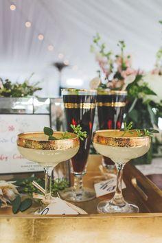 Gold rimmed signature drinks - pure elegance #cedarwoodweddings Lush and Romantic Destination Wedding :: Megan+Greg | Cedarwood Weddings