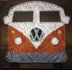 vintage vw volkswagon bus magic bus orange custom string art