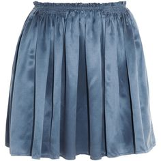 Band of Outsiders Washed silk-satin skirt (£65) ❤ liked on Polyvore featuring skirts, mini skirts, band of outsiders, bottoms, saias, azure, pleated skirt, flounce skirt, short mini skirts and short frilly skirt