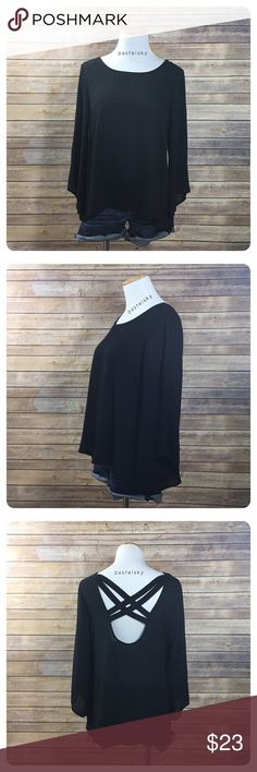 "🆕 LUSH criss cross back blouse NEW with tags and in excellent condition. slightly dressy top that will go great with dark jeans and boots.  details ・medium ・23.5"" length ・19"" bust  ・12.5"" sleeves  materials ・100% polyester  due to lighting- color of actual item may vary slightly from photos. measurements taken with items laying flat  please don't hesitate to ask questions. happy POSHing 😊  💰 use offer feature to negotiate price 🚫 i do not trade or take any transactions off poshmark Lush…"