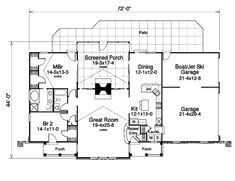 Country Style House Plan - 2 Beds 2 Baths 1568 Sq/Ft Plan #57-342 - Houseplans.com