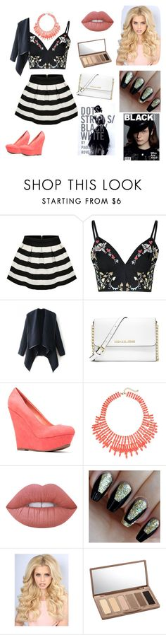 """""""My_Fashion_Sense."""" by jacalugi ❤ liked on Polyvore featuring Glamorous, WithChic, MICHAEL Michael Kors, JustFab, Lime Crime and Urban Decay"""