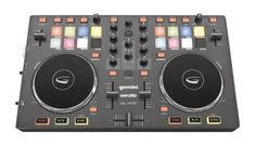 Gemini Slate DJ Controller - Super-thin and light, this USB MIDI DJ controller gives you 8 RGB backlit pads on each deck, hi-res jog wheels, and controls pre-mapped to Serato DJ Intro.