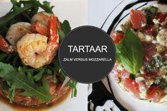 Zalmtartaar VS Mozzarella tomaattartaar. Een tartaartje is een perfect voorgerechtje voor kerst! Voor welke ga jij? Wij unaniem voor de zalmtartaar