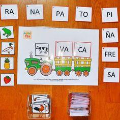 ARASAAC Materiales Materiales TEACCH El tractor de las palabras bisílabas is part of Speech language therapy - Preschool Literacy, Kindergarten Activities, Classroom Activities, Preschool Crafts, Learning Activities, Teaching English Grammar, Teaching The Alphabet, Teaching Kids, Kids Learning