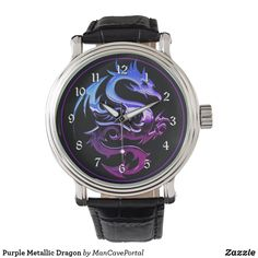Purple Metallic Dragon Watch Vintage Leather, Vintage Men, Cool Watches, Watches For Men, Dragon Shop, Gamer Gifts, Out Of Style, Jewelry Gifts, Chrome