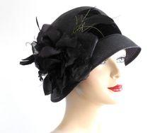 Black Straw Cloche Hat Women Spring Fashion1920's by KatarinaHats