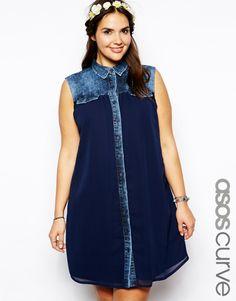 ASOS CURVE Exclusive Denim Swing Dress With Chiffon Panel
