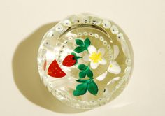 Art Glass Paperweight Strawberry Blossom by Caithness Glass Scotland Faceted