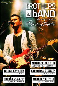 Poster promocional concertos BROTHERS IN BAND em Espanha - Outubro 2013